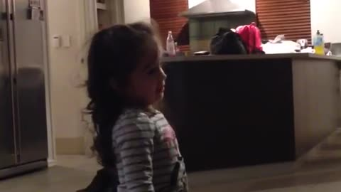 Toddler in debate over who exactly is the boss of the house!