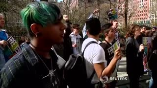 Kesha supporters protest in New York City - Video