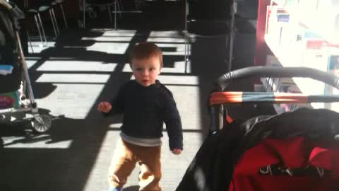 Boy was learning how to walk on his own