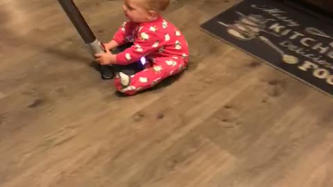 The diaper swiper goes for a vacuum thrill ride