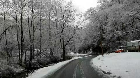 Beautiful Snow Covered Appalachian Mountain Road in West Virginia Drive