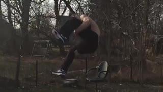 Shirtless parkour ramp kid fail - Video