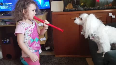 Howling Dog Sings Along To Little Girl's Performance