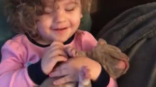 Baby girl preciously plays with pit bull puppy