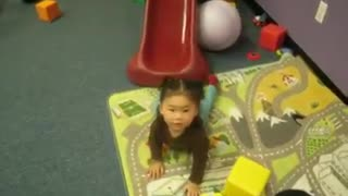 Collab copyright protection - little girl red slide red socks fail - Video