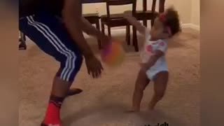 """Baby gets """"embarrassed"""" in 1-on-1 basketball with dad"""