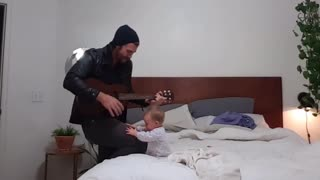 Baby Girl Is Number One Fan Of Dad And His Guitar