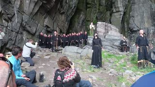 Nordic Folk Group Performs Funeral Song On Side Of Mountain - Video