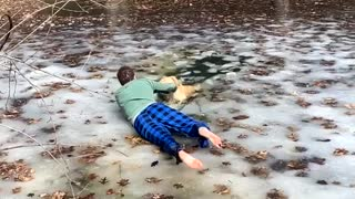 Golden Retriever Saved from Frozen Murky Pond