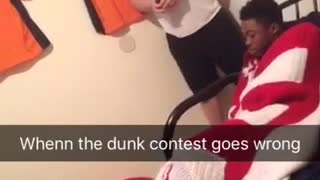 Guy tries dunking but falls from chair  - Video