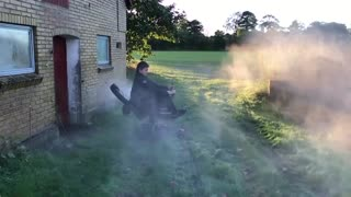 Office Chair Plus High Pressure Water Hose Sounds Like A Great Combination - Video