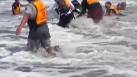Canoe Full Of People Completely Misses The Wave And End Up Bottoms Up In The Water