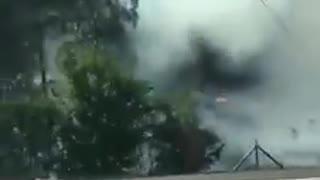 Germany Wildfire A9 Drive-by - Gigantic Clouds of Smoke  - Video