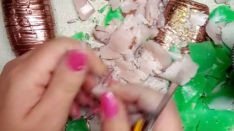 ASMR Dry painted copper soap set with clay cracking