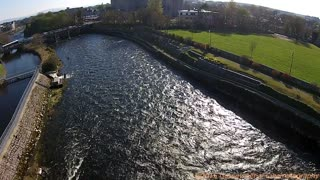 Drone footage of River Corrib and Salmon Weir - Video