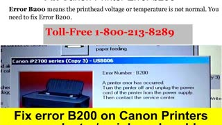 1-800-213-8289 Canon Printer B200 Error - Video