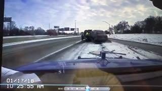 Tow truck driver narrowly avoids being hit by out-of-control vehicle