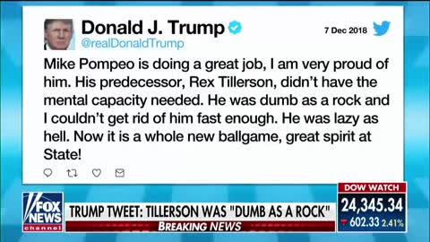 Trump hits back at Tillerson in fiery tweet