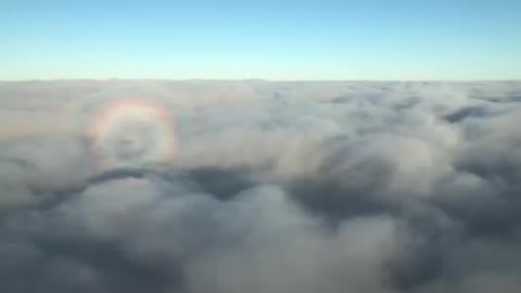 Flying above the clouds in a jet