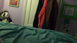 Girl pushes guys feet off bed and he falls off - Video