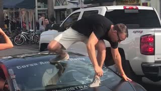 Lamborghini Driver Ends Up Cracking Windshield After Standing On It