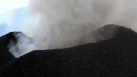 Up-close footage featuring Mount Etna explosion