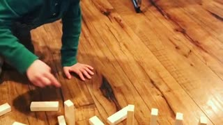 Blonde toddler dominos dont fall cry - Video