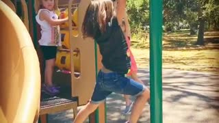 Collab copyright protection - girl green monkey bars faceplants - Video