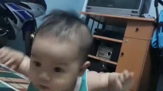Baby Learns to Crawl Too Cute  - Video