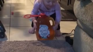Baby Who Just Wants Apple Juice Surprised by Playful Kitty