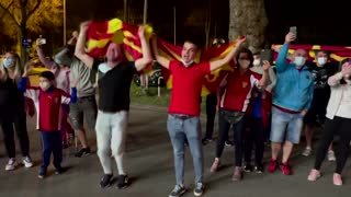 N. Macedonia fans celebrate after win over Germany