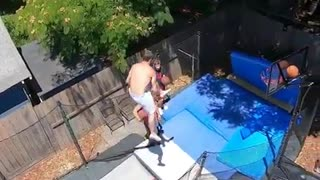 Dude pulls off epic basketball trampoline trick shot