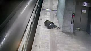 Wrong Way Woman Jumps From Moving Train Onto Platform