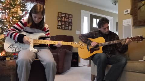 Silent Night Guitar Duet - Father and Daughter