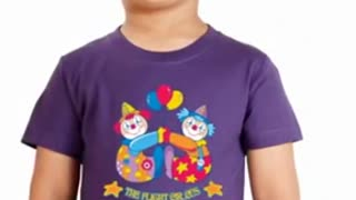 White Graphic Printed T Shirts Kids - Video