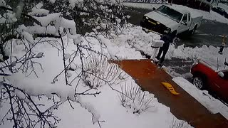 Snow Plow Driver Dumps Snow in Driveway - Video