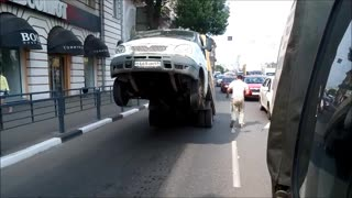 Overweight Truck Parks Itself In The Street - Video