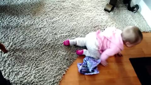 Baby Girl plays with Easter Jelly Beans