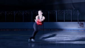 Ice skater crashes into set piece - Video
