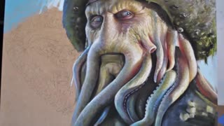 Hyperrealistic 'Pirates of the Caribbean' speed painting - Video