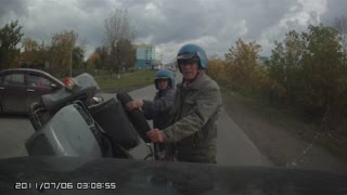 Car Pulls Out In Front Of Passing Motorcycle - Video