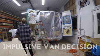 Spray painting self converted Sprinter van - Video