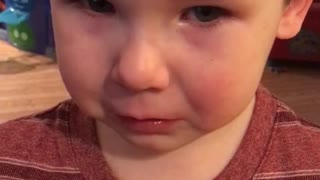 toddler resists against spaghetti for dinner  - Video