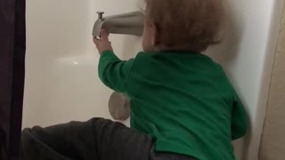 12 month old wants his bath time  - Video