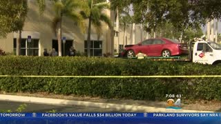 Woman on fire crashes into Broward Sheriff's Office substation - Video