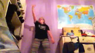 Girl Breaks Light Dancing and Playing with Soccer Ball in Her Room - Video