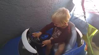 Tiny Toddler Gets Power Wheels Case Of Road Rage - Video