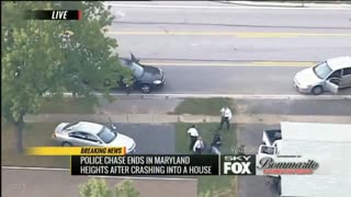 4X4 High Speed Police Chase... Crashes Into A House