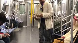 Man beige white jacket dancing around