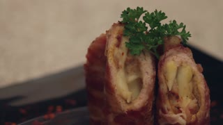 Balkan cuisine recipes: Pork loin and cheese wrapped in bacon